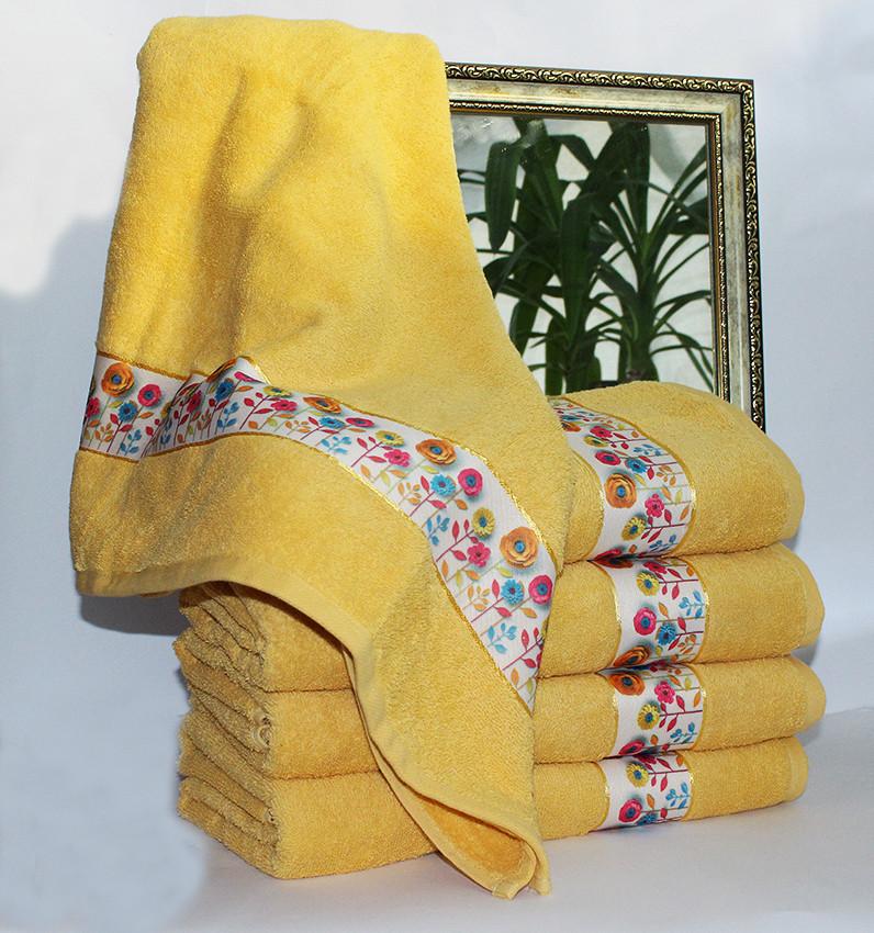 Рушник махровий Весна жовте 70х140