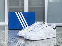 Кроссовки женские,подростковые Adidas Stan Smith,белые с черным, фото 1