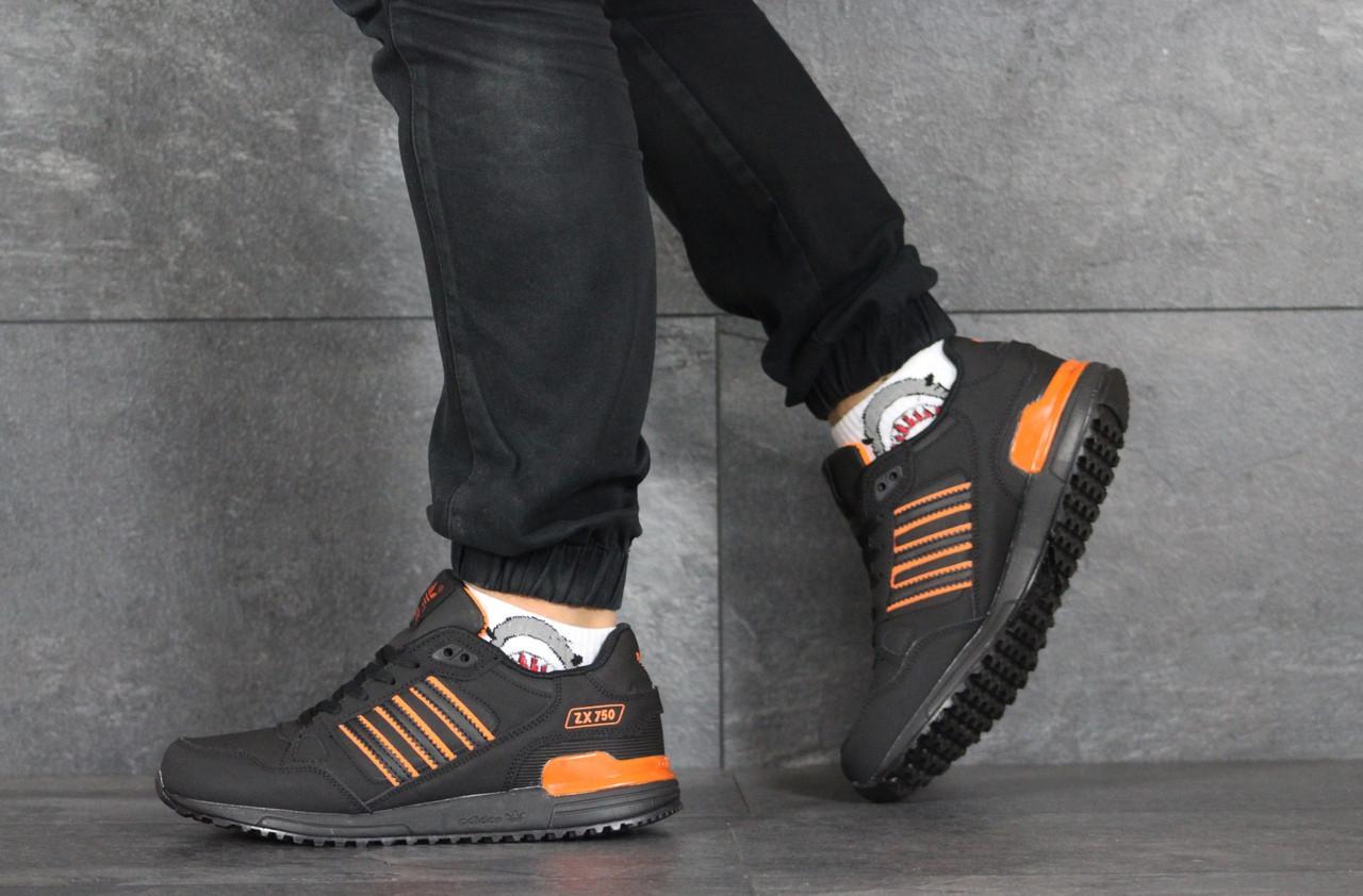 Мужские кроссовки Adidas ZX 750,нубук,черные с оранжевым