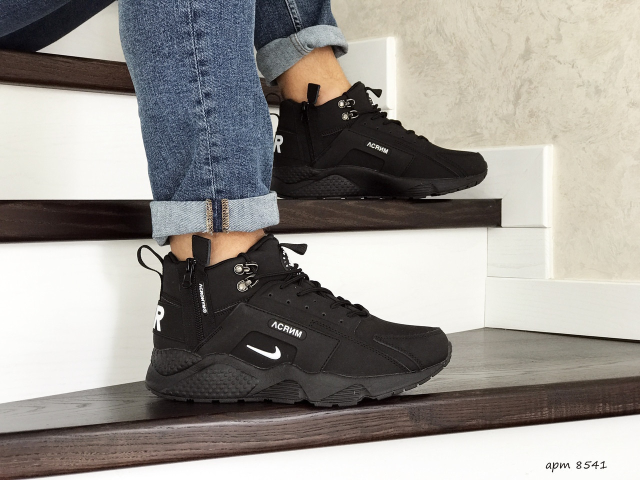 Мужские зимние кроссовки Nike Huarache,черно белые