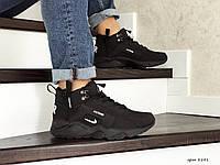 Мужские зимние кроссовки Nike Huarache,черно белые, фото 1
