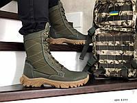Армейские ботинки,зимние берцы нубук,на меху темно зеленые, фото 1