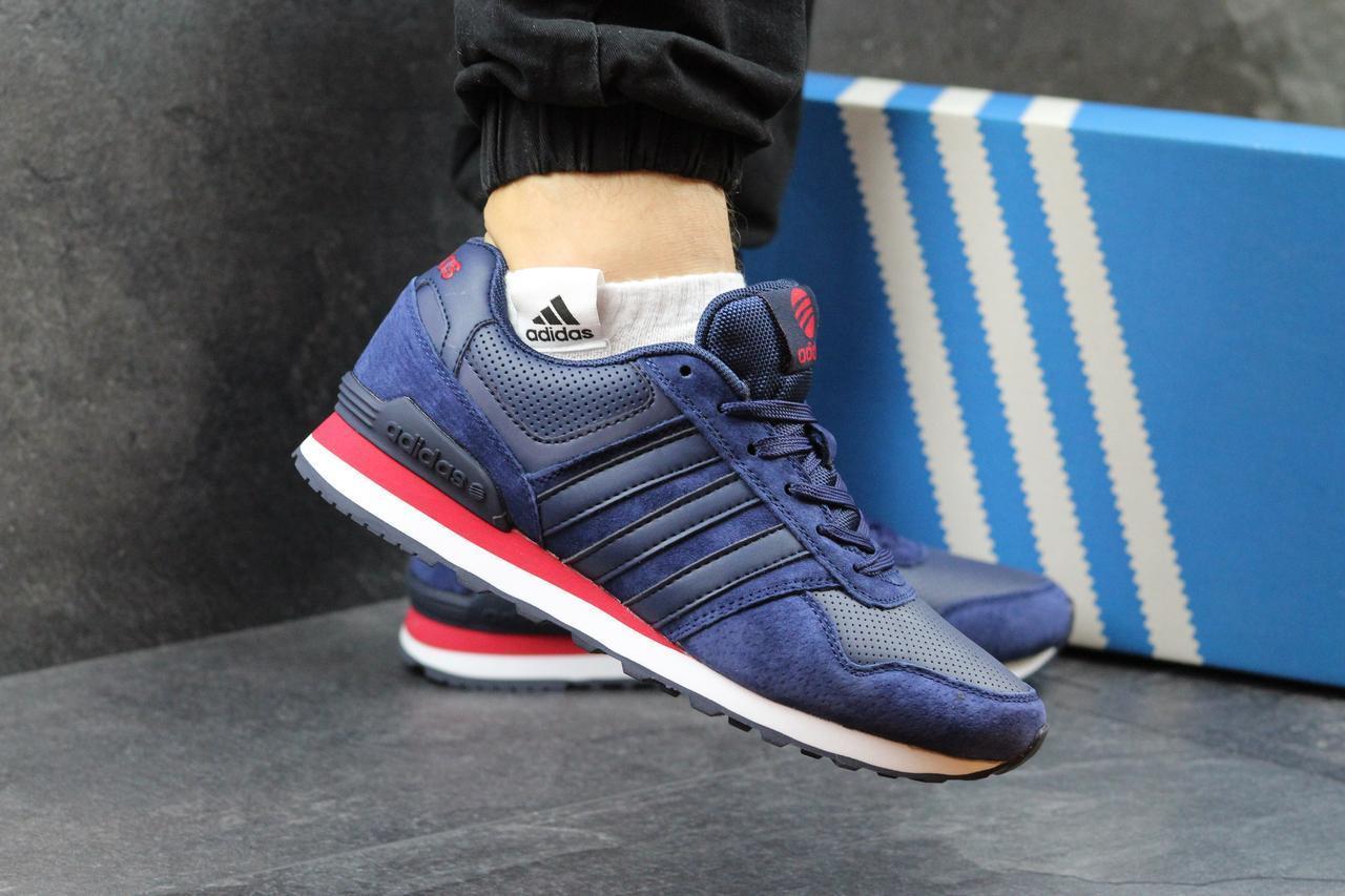 Мужские кроссовки Adidas Neo замшевые темно синие с красным