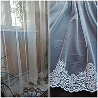 Тюль фатин с вышивкой внизу Невеста. Турецкая фатиновая тюль молочного цвета