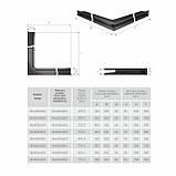 Вентиляційна решітка для каміна кутова права SAVEN Loft Angle 60х800х600 чорна, фото 6