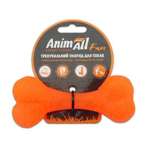 Игрушка AnimAll Fun кость, оранжевая, 12 см