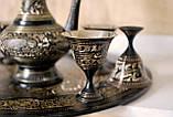 Сервіз бронзовий чорний (піднос ,6 чарок, глечик), фото 7