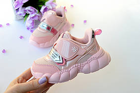 Кроссовки демисезонные из эко кожи  на девочку  розовые 22-31