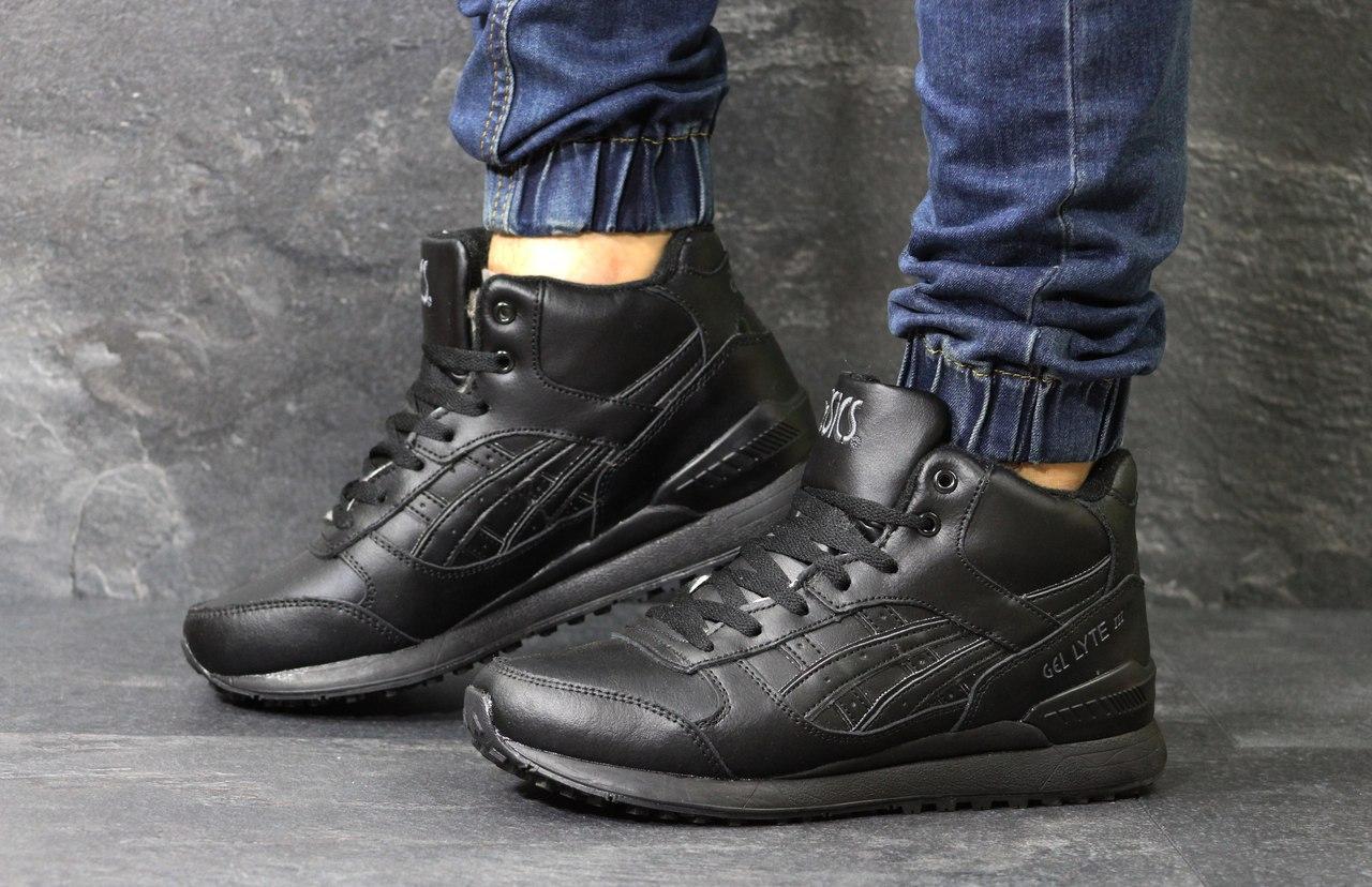 Высокие кроссовки Asics GEL LYTE III кожаные,черные
