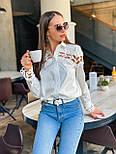 Женская белая стильная рубашка с кружевом из хлопка+кружево люкс, фото 5