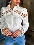 Женская белая стильная рубашка с кружевом из хлопка+кружево люкс, фото 4