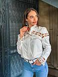 Женская белая стильная рубашка с кружевом из хлопка+кружево люкс, фото 3