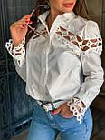 Женская белая стильная рубашка с кружевом из хлопка+кружево люкс, фото 2