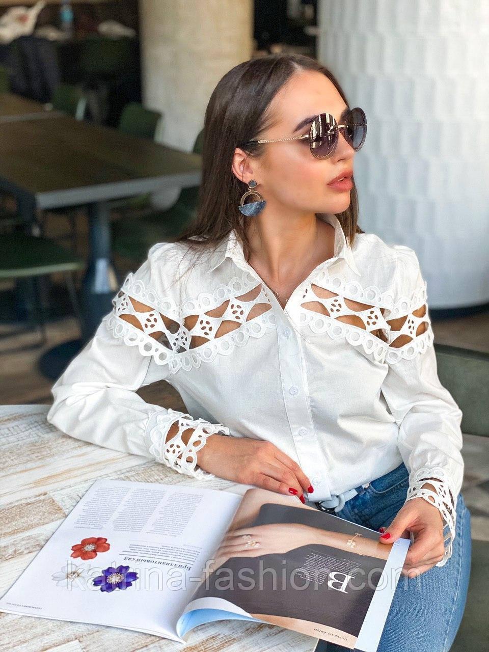 Женская белая стильная рубашка с кружевом из хлопка+кружево люкс