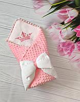 Двухсторонний Конверт одеяло плюш Minky 2 в 1 на выписку для новорожденного в роддом польский хлопок