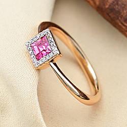 Кольцо Xuping с кристаллами Swarovski 83188 размер 17 ширина 6 мм цвет розовый позолота 18К