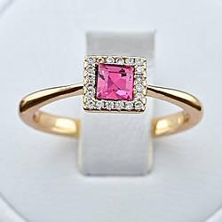 Кольцо Xuping с кристаллами Swarovski 83188 размер 18 ширина 6 мм цвет розовый позолота 18К