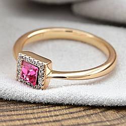 Кольцо Xuping с кристаллами Swarovski 83188 размер 19 ширина 6 мм цвет розовый позолота 18К