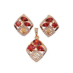Комплект прикрас (Сережки + підвіска), червоні і білі фіаніти, позолота 18К, 73615 (1)