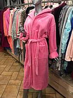 Халат женский махровый розовый