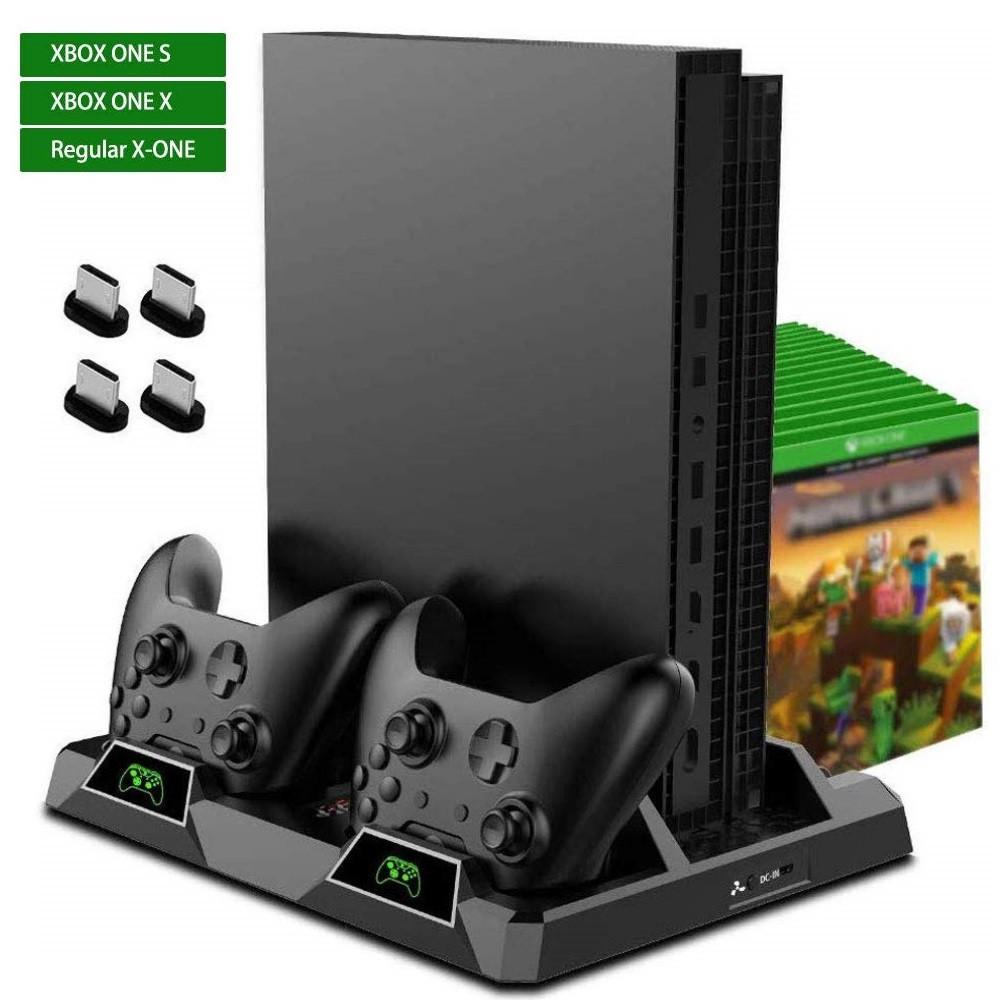 Многофункциональная Док-станция для Xbox One S X Зарядка контроллеров, Охлаждение Консоли, Хранение Дисков
