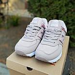 Женские кроссовки New Balance 574 кожаные грязно розовые. Живое фото. Реплика, фото 3