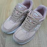 Женские кроссовки New Balance 991 замшевые пудра. Живое фото. Реплика, фото 6