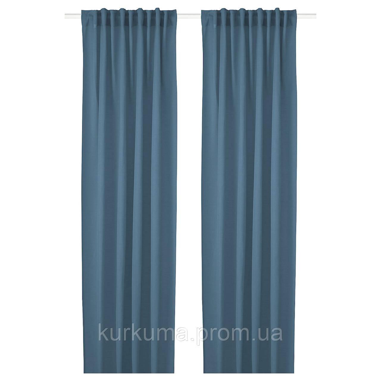 IKEA HILJA Гардины, 2 шт., синий, 145x300 см (904.630.29)