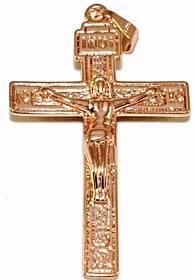 Крестик позолота с кр.оттенком мкр-015