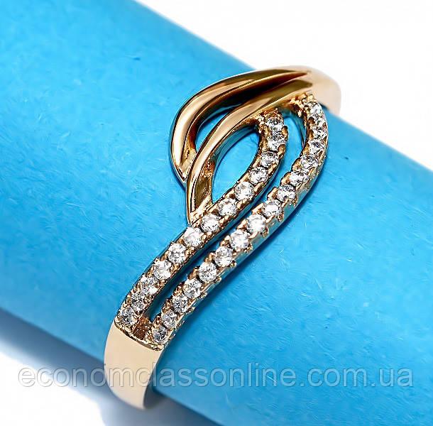 Кольцо позолота белый циркон хк-513