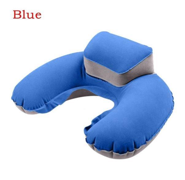 Надувная подушка для шеи для путешествий, дома, сна. Голубая