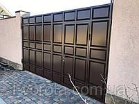 Распашные филенчатые ворота ш4000, в2200 с калиткой в полотне ворот (с узким полем и асимметричными филенками), фото 2