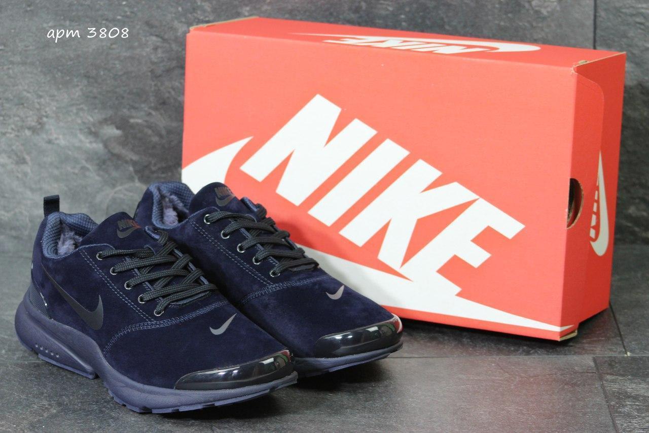 Зимние кроссовки Nike air presto замшевые,темно синие 46р