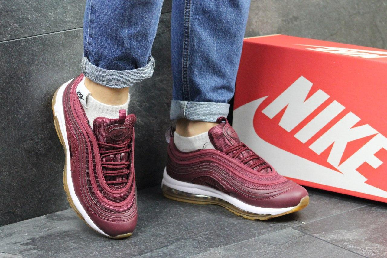 Кроссовки подростковые Nike air max 97, бордовые 36,38р