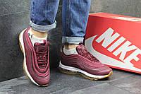 Кроссовки подростковые Nike air max 97, бордовые 36,38р, фото 1