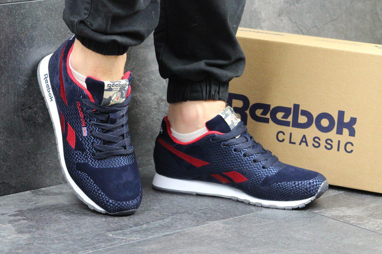 Мужские кроссовки Reebok  темно синие с красным,сетка 45р