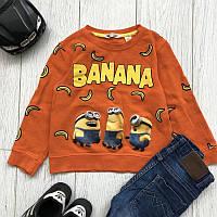 Свитшот H&M Детский на флисе Принт Banana Рост 134-140 см Оранжевый