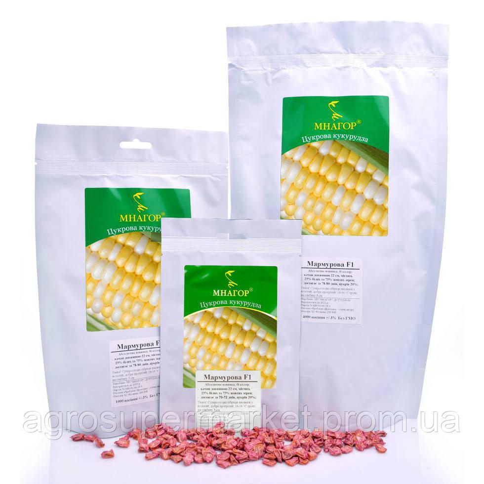 Цукрова кукурудза Мармурова F1, Sh2-тип, 1000 насінин на 1.5 сотки,  70-72 днів, біколор
