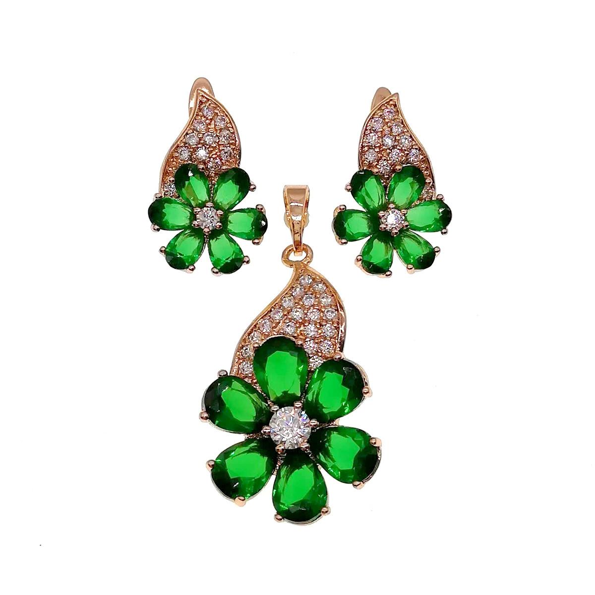 Комплект украшений (Серьги + подвеска), зеленые и белые фианиты, позолота 18К, 73610       (1)
