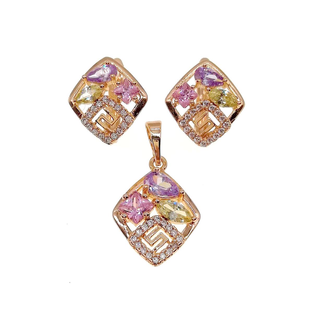 Комплект украшений (Серьги + подвеска), фиолетовые, розовые и оливковые фианиты, позолота 18К, 73609       (1)