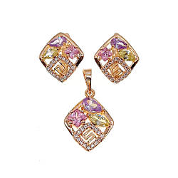 Комплект прикрас (Сережки + підвіска), фіолетові, рожеві і оливкові фіаніти, позолота 18К, 73609 (1)