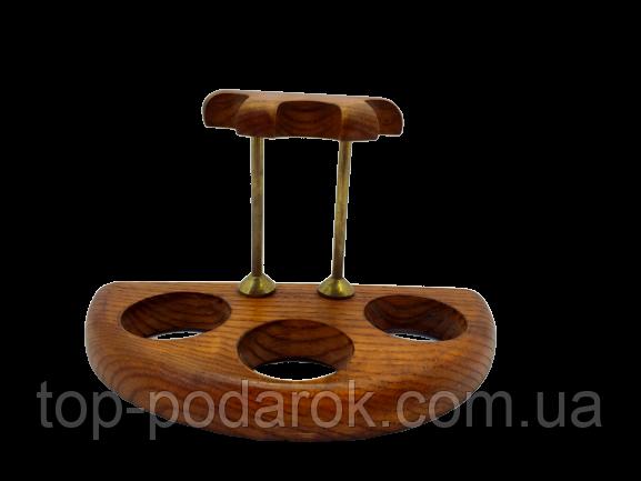 Подставка для трех трубок деревянная с латунными вставками