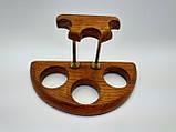 Подставка для трех трубок деревянная с латунными вставками, фото 3