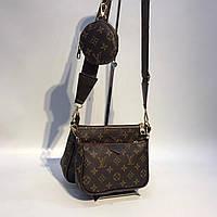 Двойная сумка клатч через плечо Луи Виттон Коричневый ободок