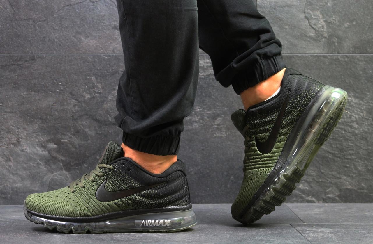 Мужские кроссовки NIKE AIR MAX 2017,плотная сетка,зеленые с черным 42р