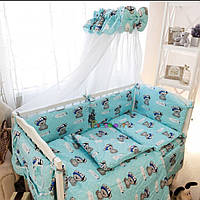 Комплект в детскую кроватку с балдахином бирюзовый, 8 элементов