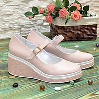 Туфли женские кожаные на платформе. Цвет пудра. 39 размер