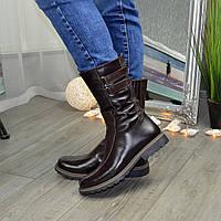 Ботинки зимние женские кожаные на низком ходу, цвет коричневый. 41 размер