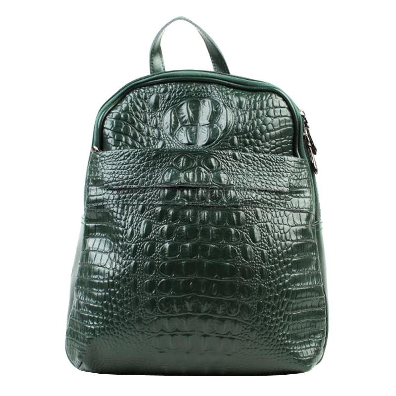 Кожаный рюкзак, зеленый.