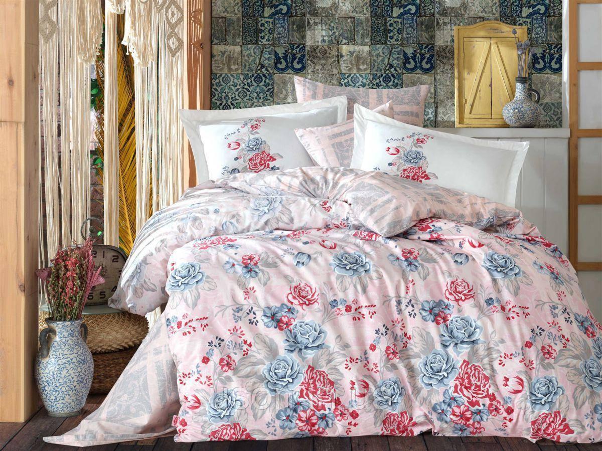 Комплект постельного белья  Hobby поплин размер евро Florentina Gri